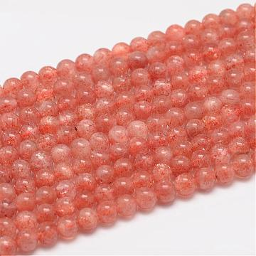 Natural Sunstone Beads Strands, Round, Salmon, 5mm, Hole: 0.8mm; about 75pcs/strand(G-F306-12-5mm)