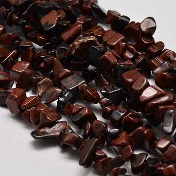 Chip Natural Mahogany Obsidian Beads Strands, 5~8x5~8mm, Hole: 1mm; 34 inches(G-N0134-25)