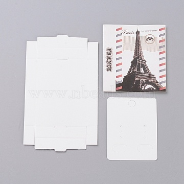 Kraft Paper Boxes and Earring Jewelry Display Cards, Packaging Boxes, with Eiffel Tower Pattern, White, Folded Box Size: 7.3x5.4x1.2cm; Display Card: 6.5x5x0.05cm(X-CON-L015-A09)
