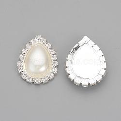 strass en laiton à dos plat, avec abs en plastique imitation perle, déposer, plaqué argent, effacer, 26x20x5.5 mm(RB-S065-02)