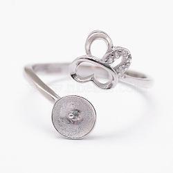 925 элементы пергаментного кольца из стерлингового серебра, с кубического циркония, за половину пробурено бисера, бабочка, платина, лоток: 6 мм; 17 мм(STER-P030-04P)
