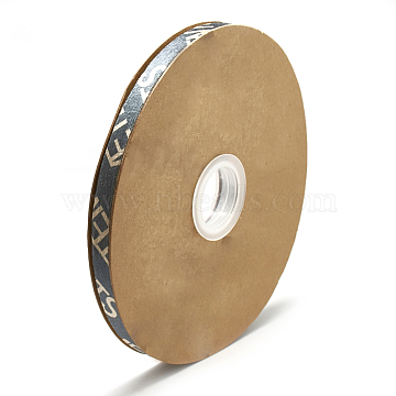 Nylon Ribbon, Personalized Ribbon, with Word, Dark Slate Gray, 5/8 inch(15mm); about 40yards/roll(36.5m/roll)(SRIB-N003-21A)