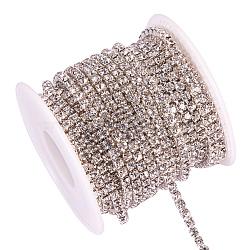 laiton strass chaînes de strass, avec bobine, strass chaînes de tasse, plaqué argent, cristal, 3 mm, environ 10 yard / roulette (CHC-T001-SS14-01S)