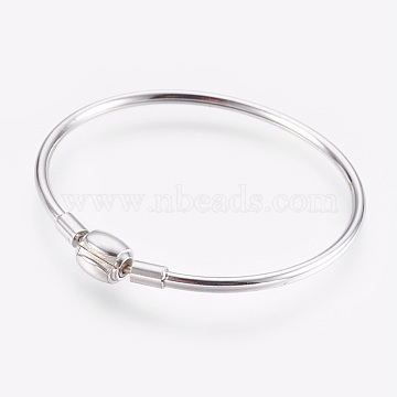 304 Stainless Steel European Style Bangle Making, with Clasps, Stainless Steel Color, 2 inches(5cm)x2-1/4 inches(5.7cm), 3mm(BJEW-I267-003A)