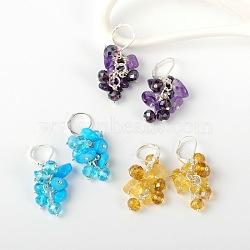 Copeaux de pierres précieuses boucles d'oreilles, avec perles de verre et boucles d'oreilles créoles en laiton, pierre mixte, 39 mm; broches: 0.7 mm(EJEW-JE01301)