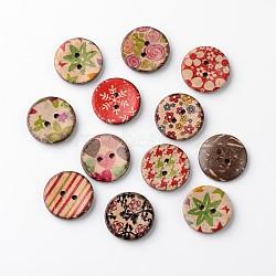 Boutons de noix de coco rondes plat 2-hole, couleur mixte, 20x3mm, Trou: 2mm(BUTT-D049-16)