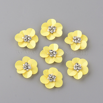 Handmade Paillette Ornament Accessories, with Rhinestones and Fabrics Pads, Flower, Yellow, 24~25x22~23x7mm(X-WOVE-Q068-02)