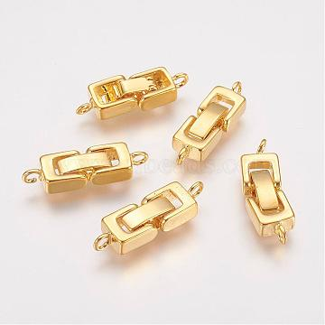 Brass Fold Over Clasps, 1-Hole, Cadmium Free & Lead Free , Golden, 24x7x4mm, Hole: 1mm(KK-I591-06G-RS)