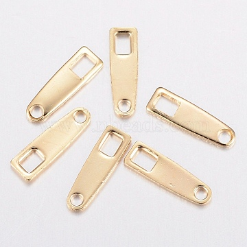304 Stainless Steel Chain Tabs, Chain Extender Connectors, Golden, 10x3x0.8mm, Hole: 1.2~2.5mm(X-STAS-H436-08)