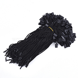 Polyester Cord with Seal Tag, Plastic Hang Tag Fasteners, Black, 180~185x2mm; Seal Tag: 10x7x4mm and 9x3mm; about 1000pcs/bag(CDIS-T001-12A)