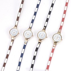 Alloy Watch Head Bracelet Watches, with PU Leather and Metal Findings, 3-Loop, Wrap Bracelets, Flat Round, Mixed Color, 22inches(56cm), 6mm(WACH-P017-P)