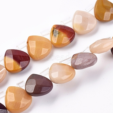 Natural Mookaite Beads Strands, Faceted, Teardrop, 10~10.5x10~10.5x5mm, Hole: 0.6mm; about 39pcs/strand, 15.94''(40.5cm)(G-G821-13B)