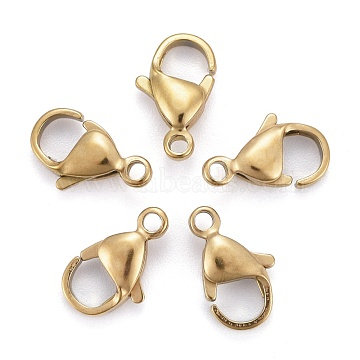 Vacuum Plating 304 Stainless Steel Lobster Claw Clasps, Parrot Trigger Clasps, Golden, 12x7x3.5mm, Hole: 1.5mm(X-STAS-H353-D-02G)
