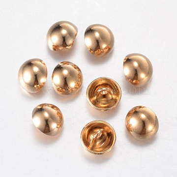 Alloy Shank Buttons, 1-Hole, Dome/Half Round, Light Gold, 20x10mm, Hole: 1.5mm(X-BUTT-D054-20mm-06KCG)