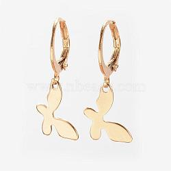 Boucles d'oreilles en 304 acier inoxydable, Boucles d'oreilles leverback, papillon, or, 26mm, pin: 1 mm(EJEW-D227-05)