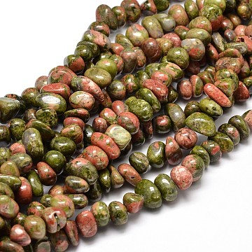 Natural Unakite Gemstone Chip Bead Strands, 6~10x9~12x8~10mm, Hole: 1mm, about 15.3 inches~15.7 inches(G-J337-29)