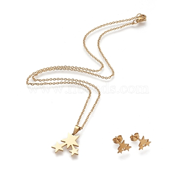 304 Stainless Steel Jewelry Sets, Cable Chains Pendant Necklaces and Stud Earrings, with Lobster Claw Clasps and Ear Nuts, Star, Golden, Necklaces: 17.79inches(45.2cm); Earrings: 9.2x9.9mm, Pin: 0.8mm(SJEW-I202-01G)