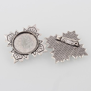 Vintage Alloy Flower Brooch Cabochon Bezel Settings, Cadmium Free & Lead Free, with Iron Pin Back Bar Findings, Antique Silver, Flat Round Tray: 20mm; 40x40x2mm; Pin: 0.8mm(X-PALLOY-O038-37AS)