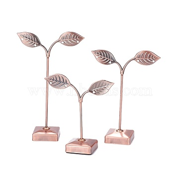 Iron Earring Displays Sets, Jewelry Display Rack, Jewelry Tree Stand, Red Copper, 8.3x9.2~13.2cm, 3pcs/set(X-EDIS-L006-16R)