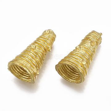 Brass Bead Cone Rhinestone Settings, Nickel Free, Raw(Unplated), Fit for 1mm Rhinestone; 19x10.5x9.5mm, Hole: 1.4mm; Inner Diameter: 7mm(KK-T040-026-NF)