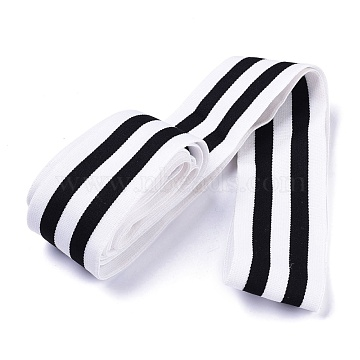 Flat Elastic Band, For Clothing, Garment Accessories, Black & White, 50mm(OCOR-XCP0001-07)