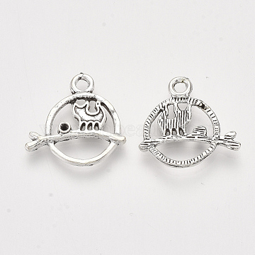 Tibetan Style Alloy Kitten Pendant Rhinestone Settings, Cadmium Free & Lead Free, Flat Round with Cat Shape, Antique Silver, Fit for 1.5mm rhinestone, 19x19x2mm, Hole: 2mm(X-TIBE-S314-70AS-LF)