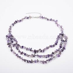 colliers à plusieurs rangées de perles de verre d'améthyste et de verre, colliers en couches, avec les résultats en laiton, 18.8 (48 cm)(NJEW-K100-05F)