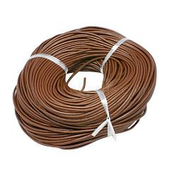 Cuir de vachette cordon bijoux collier bricolage matériel de fabrication, marron, taille: environ 2.5 mm d'épaisseur.(X-WL-A001-12)