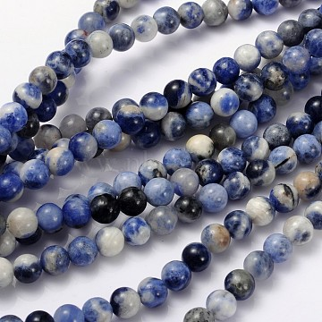Natural Sodalite Beads Strand, Grade AB, Round,  6mm, Hole: 0.8mm; about 60pcs/strand, 15~16inches(X-GSR6mmC013)