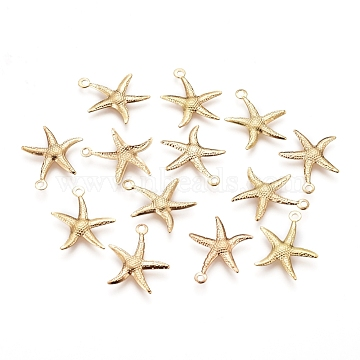 Electroplated Iron Pendants, Starfish/Sea Stars, Real 18K Gold Plated, 18x15.5x1mm, Hole: 1.4mm(X-IFIN-I030-10G)