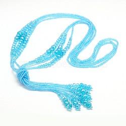 """Billes de verre colliers de lasso, avec des perles de rocaille, cyan, 44.8""""(NJEW-O059-04I)"""