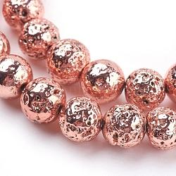 Chapelets de perles en lave naturelle électrolytique, rond, cahoteuse, rose plaqué or, 8~8.5mm, trou: 1mm; environ 47 pcs/chapelet, 15.35'' (39 cm)(G-K259-57-8mm-RG)