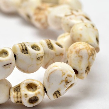 Dyed Synthetic Turquoise Bead Strands, Skull, Creamy White, 8x6x7mm, Hole: 1mm, 15.7 inches(X-G-M145-10-A)