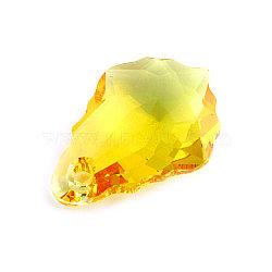 Pendentif en cristal autrichien, baisse baroque facettes, topaze clair,  largeur de 11 mm, Longueur 16mm(6090-16X11MM-226)
