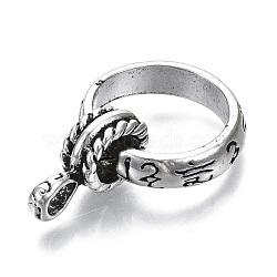 Zinc Alloy Finger Ring Settings, Loop Ring Base, Cadmium Free & Lead Free, Antique Silver, Size 10, Inner Diameter: 20mm(RJEW-N029-001)