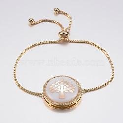 """Bracelets réglables de bolo de coquille de zircone cubique en laiton de pave réglable, Bracelets coulissants, avec des chaînes de boîte en laiton, plat et circulaire avec arbre de vie, blanc, or, 10-1/4"""" (260 mm); 1.2mm(BJEW-H557-03G)"""