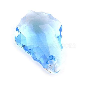 Austrian Crystal Pendant, Faceted Baroque Drop, Aquamarine, 11mm wide, 16mm long(6090-16X11MM-202)