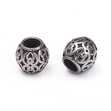 316 Surgical Stainless Steel European Beads, Large Hole Beads, Barrel, Antique Silver, 8.5x8.5mm, Hole: 4.5mm(X-STAS-G220-43AS)