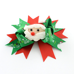 Christmas Grosgrain Bowknot Alligator Hair Clips, with Iron Clips, Green, Platinum, 100x110mm; clip: 56x8mm(PHAR-R167-15)