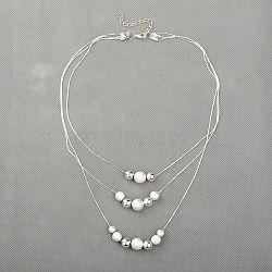 perles texturées en laiton autour de colliers à trois niveaux, 3 colliers de couches, avec des chaînes de fer, alliage homard fermoirs pince et laiton embout, argent, 16.5(NJEW-JN00610-01)