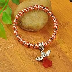 Bracelets d'ange belle avec robe de mariée pour les enfants, bracelets carnaval extensibles, avec verre perles de nacre et de perles de style tibétain, corail, 45mm(BJEW-JB00727-16)