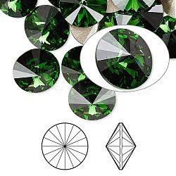 cristal autrichien cabochons de strass, passions de cristal, déjouer retour, facettes rivoli, 1122, 260 vert mousse _dark, 12 mm(X-1122-12mm-F260)