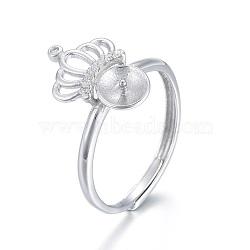 регулируемые 925 элементы кольца из стерлингового серебра, за половину пробурено бисера, с кубического циркония, вырезанные 925, корона, платина, Размер 7, 17.5 мм; Лоток: 5.5 мм; контактный: 1 мм(STER-F048-13P)