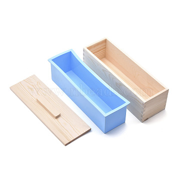 Rectangular Pine Wood Soap Molds Sets, with Silicone Mold, Wood Box and Cover, DIY Handmade Loaf Soap Mold Making Tool, Dodger Blue, 28x8.9x10.4cm, Inner Diameter: 7x25.9cm; 3pcs/set(DIY-F057-03A)