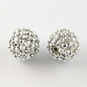 18mm Silver Round Resin+Rhinestone Beads