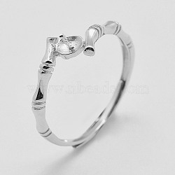 Adjustable 925 Sterling Silver Ring Components, For Half Drilled Beads, Size 6, Platinum, 16mm, pin: 0.4mm(STER-K038-031P)