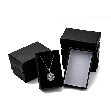 Cardboard Paper Jewelry Set Boxes, with Black Sponge, for Jewelry and Gift, Rectangle, Black, 8x5x2.7cm(CBOX-G015-04)