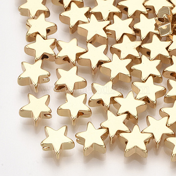 Brass Beads, Star, Real 18K Gold Plated, 8x8x3mm, Hole: 1.2mm(KK-S348-428A)