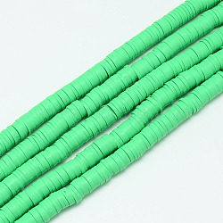 brins de perles en argile polymère faits à la main, perles heishi, disque / rond plat, mediumspringgreen, 6x0.5~1 mm, trou: 2 mm; environ 320~447 perle / brin, 15.74(X-CLAY-T002-6mm-09)