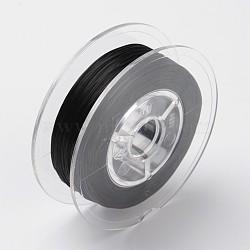 Chaîne de cristal élastique plate teinte à l'environnement japonaise, fil de perles élastique, pour la fabrication de bracelets élastiques, plat, noir, 0.6mm; Environ 60 m / rouleau (65.62 heures / rouleau)(EW-F005-0.6mm-09)